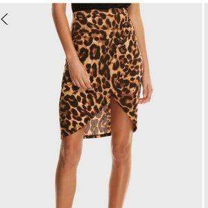 Leopard print wrap split skirt